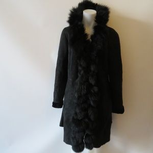 FOREVER LEATHER FOR YOU SUEDE SHEARLING COAT M *